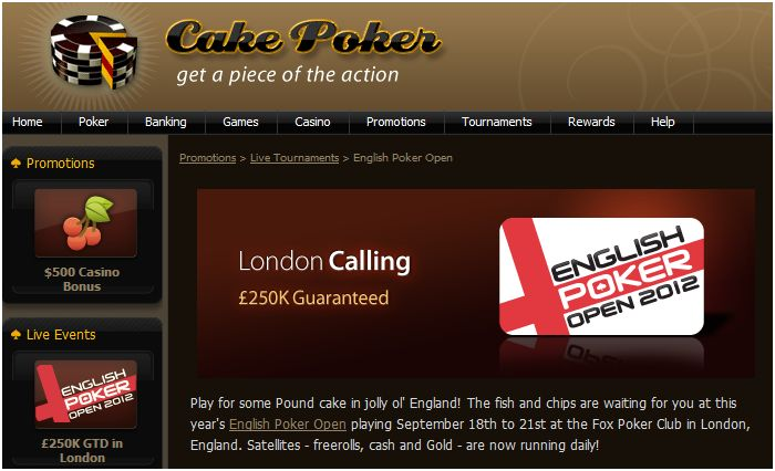 Qualify for the English Poker Open 2012 with Cake Poker