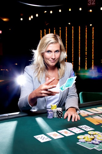 """Jackie Glazier, Australia's Number 1 ranked Poker Player. Photographed for Good Weekend, """"You Do What?"""" column, by Marina Oliphant. Photographed at Crown Casino, Melbourne, October 14, 2011. The Age Newspaper and The Sydney Morning Herald."""