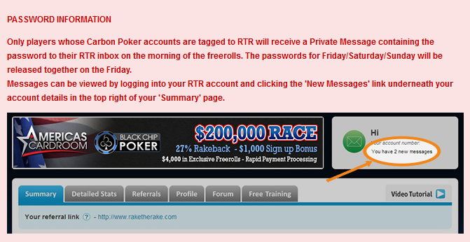 Carbon Poker Freerolls Password info