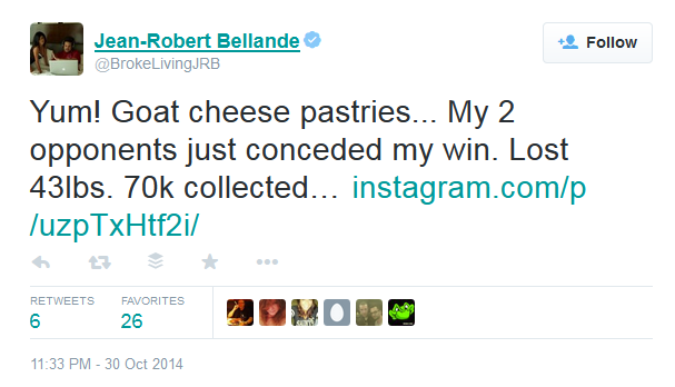 Jean-Robert Bellande Weight Loss Prop Bet Tweet RakeTheRake